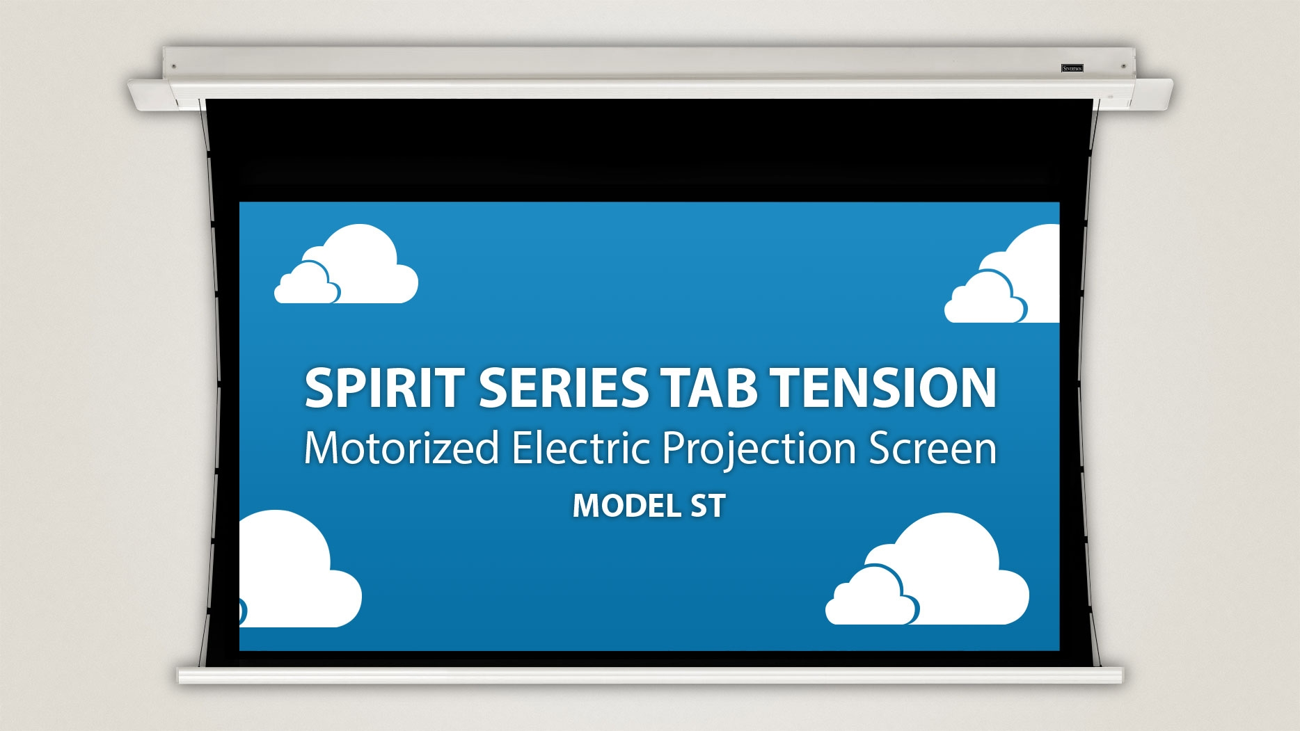 Spirit tab tension in ceiling electric motorized for Tab tensioned motorized projection screen