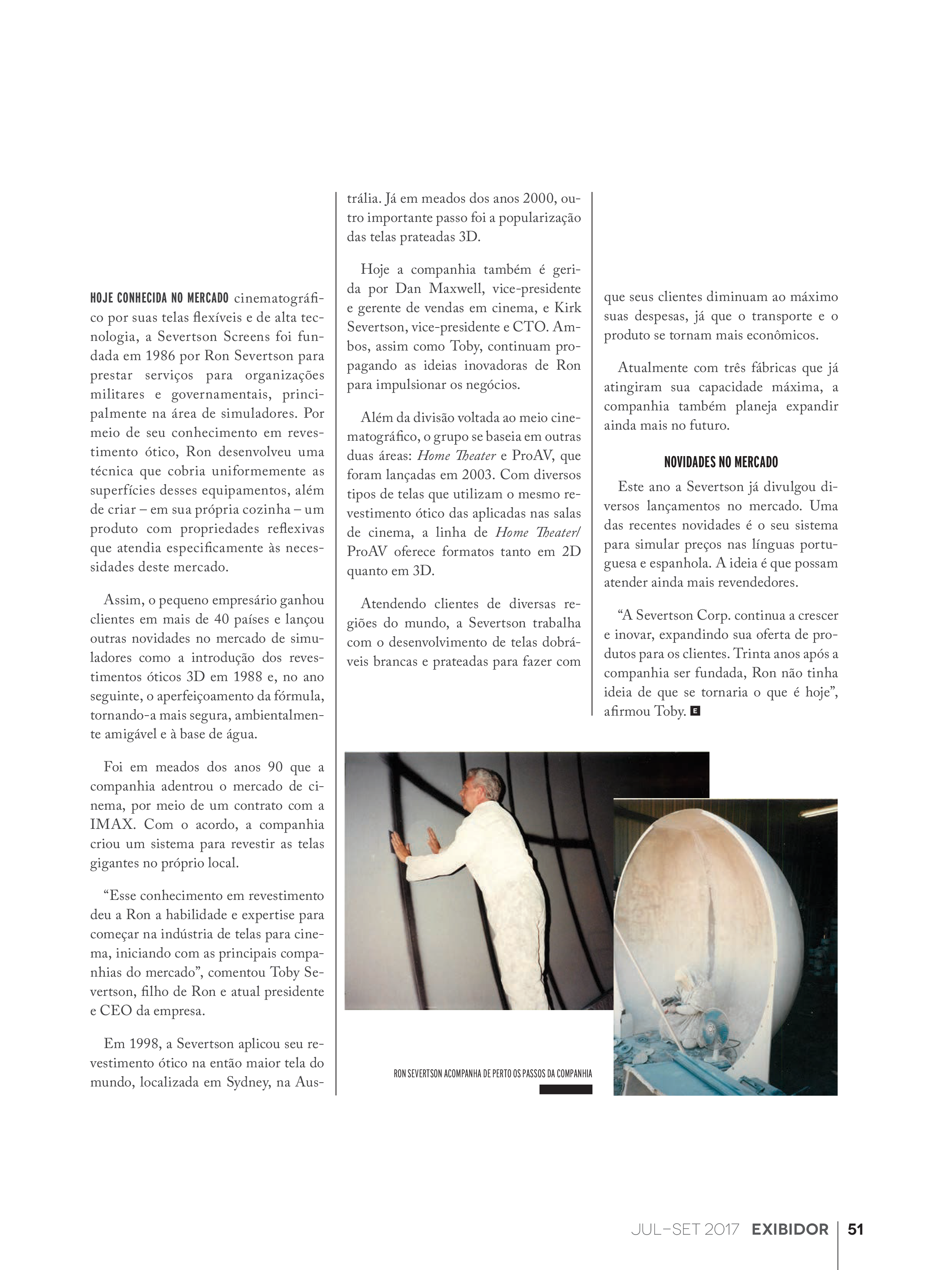 Article featuring Severtson Screens, from Exibidor magazine