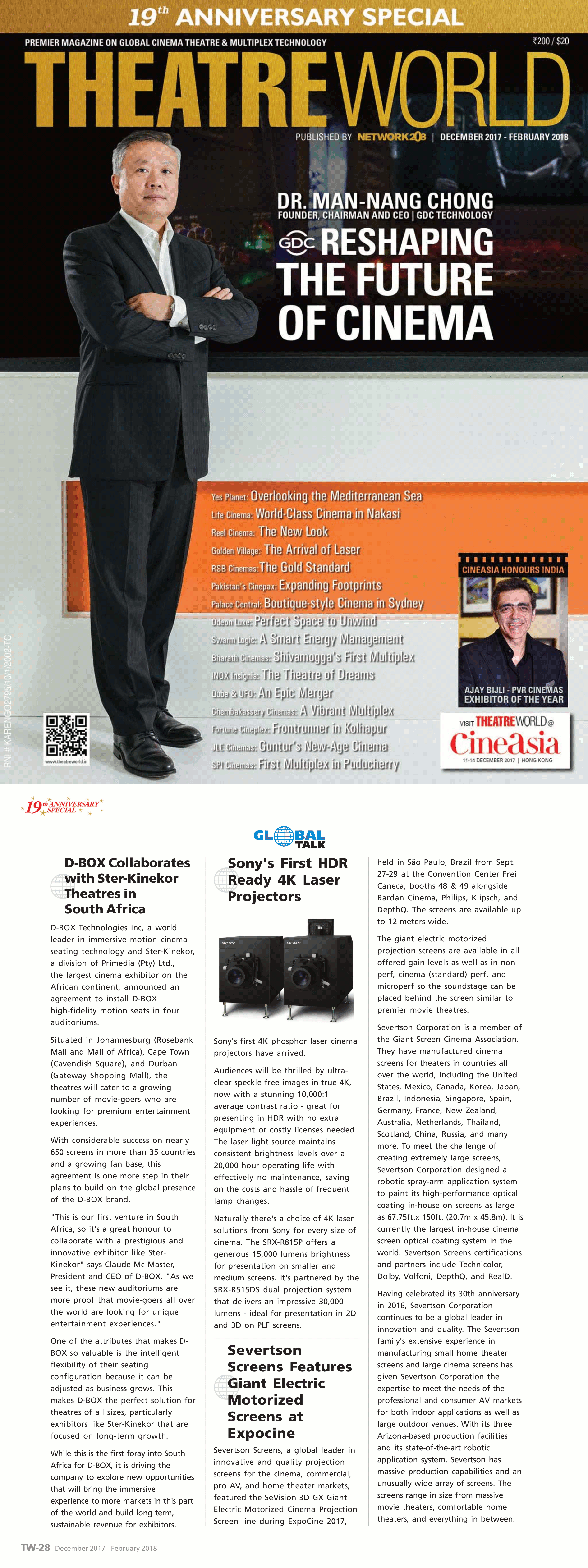 Severtson Screens was featured in a Theatre World magazine article about our Giant Electric motorized screens, as featured at ExpoCine 2017.