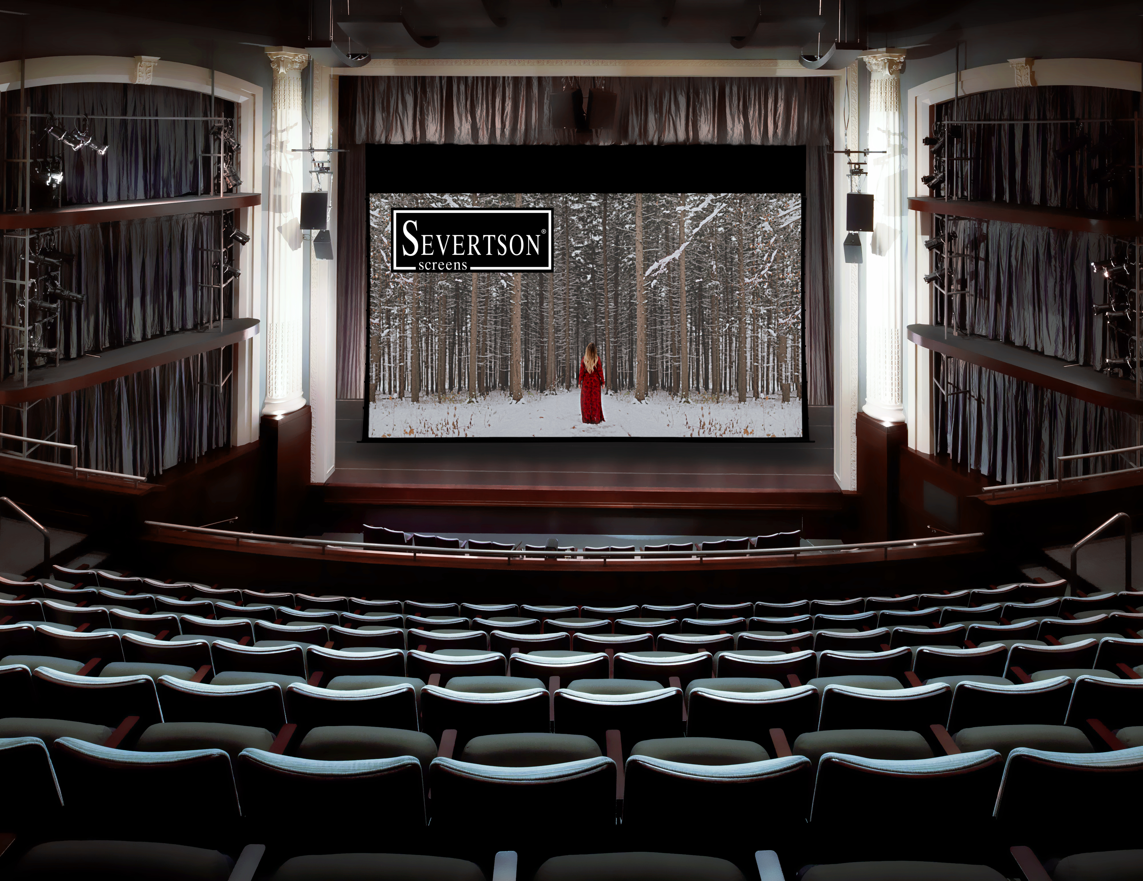 Severtson Screens' Giant Electric Motorized screens are the perfect fit for any venue that needs a very large retractable cinema screen.
