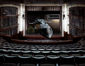 Severtson Screens' Giant Electric motorized screens with SeVision 3D GX coating are like a retractable cinema screen, perfect for any venue with a large stage.